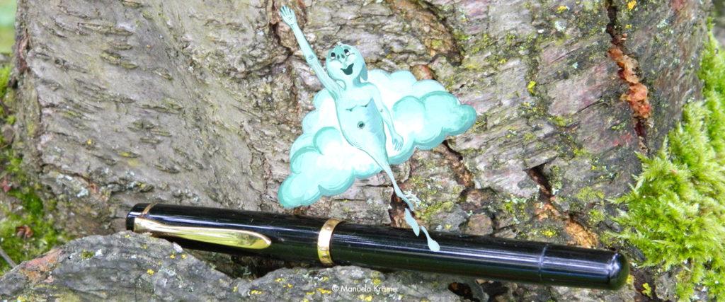Ghostwriter Autorin: Ein Füller. aus dem ein Comic-Geist aufsteigt.